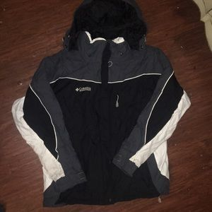 Black and white Columbia winter coat with shell